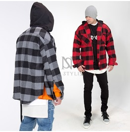 Long Strap Attached Checkered Hood Zip Up Jacket 248
