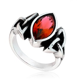 Stainless Steel Celtic Ring With Red Cubic Zirconia