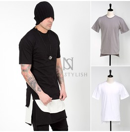 Side Incision Accent Unbalanced T Shirts 651