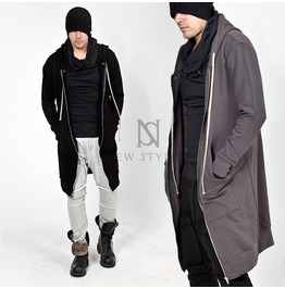 Banded Hem Sharp Long Zip Up Hoodie 126