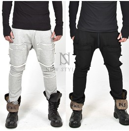 Distressed Square Incision Baggy Sweatpants 240