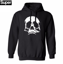 Skull Punk Rock Mens Hood Men Black Hoodies Hat Fleece Casual Men M Xxl