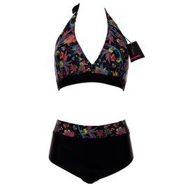 Floral Print Plus Size Halter High Waist Bikini Swimwear