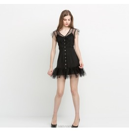 Fashion Sexy Black V Neck Mesh Sleeveless Mini Dresses