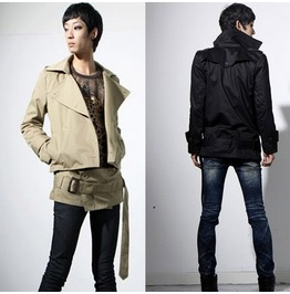 New Arrival Men's Fashion Classic Khaki Short Trench Coats