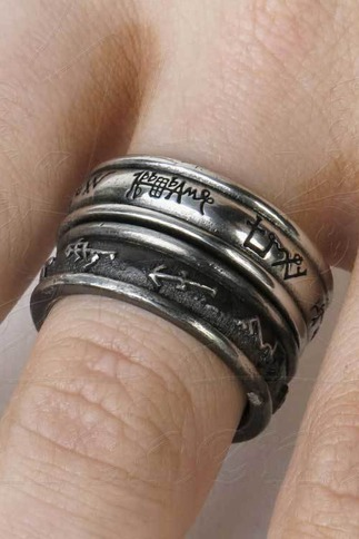 Unisex Occult Angel And Demon Inscribed Rings