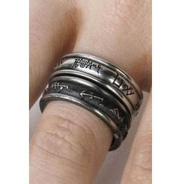 Gothic Occult Angel And Demon Inscribed Rings