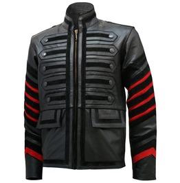 Men Black Gothic Military Style Leather Jacket Stylish Men Leather Jacket