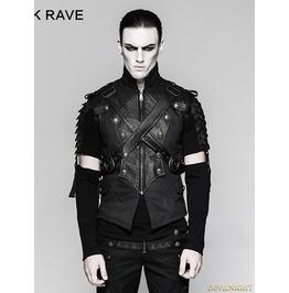 Black Gothic Military Uniform Cross Belt Vest For Men Y 738