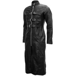 Mens Gothic Long Leather Coat Bondage Style Leather Coat For Extreme Men