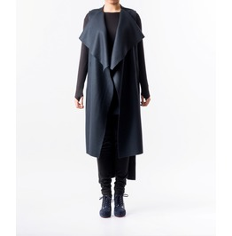 Blue Wrap Vest / Sleevelss Wool Coat / Wrap Coat / Wool Coat / Draped Coat