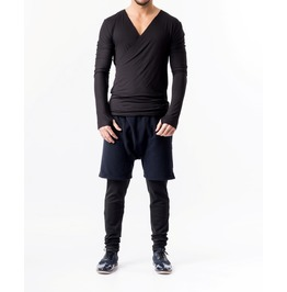 Drop Crotch Shorts With Leggings / Blue Wool Shorts / Shorts With Leggings