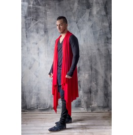 Sleeveless Red Cardigan / Red Draped Cardigan / Longline Mens Cardigan