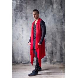 Sleeveless Red Cardigan / Red Draped Cardigan / Longline Mens Cardigan