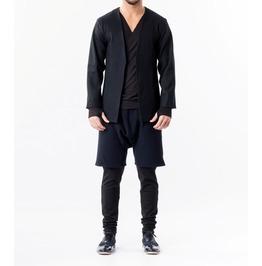 Woolen Lapelless Blazer / Men's Buttonless Blazer / Blue Woolen Jacket