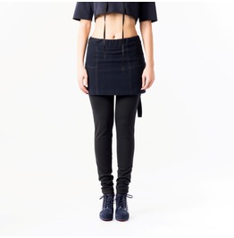 Skirt With Leggings / Woolen Skirt / Blue Mini Skirt /
