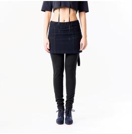 Skirt With Leggings / Woolen Skirt / Blue Mini Skirt /