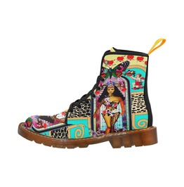 Aries Goddess With Cherubs & Love Hearts Canvas Combat Boots