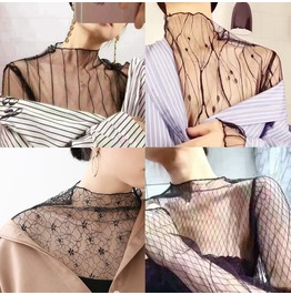 Women Lace See Through Sheer Mesh Long Sleeve Casual Top
