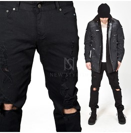 Heavily Distressed Black Slim Jeans 257