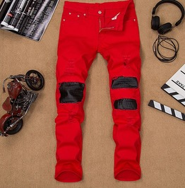 Leather Patch Distressed Ripped Skinny Red Denim Pants