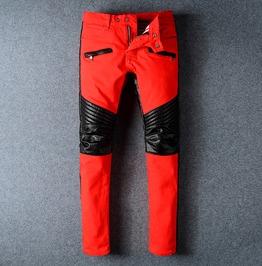 Pu Leather Patchwork Stetch Red Denim Biker Jeans