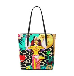 Funky Goddess With Wings And Vintage Moon & Love Heart Tote Bag
