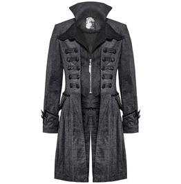 Punk Mens Gothic Coat Jacket Grey Black Steampunk Vtg Victorian Aristocrat