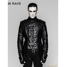 Black Gothic Heavy Punk Metal Military Uniform Short Coat Y 746