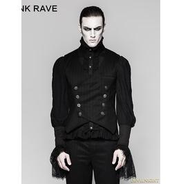 Black Gothic Gentleman Punk Stripe Chinese Style Buckle Vest For Men Y 754