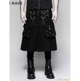 Black Gothic Dark Series Metal Warrior Skirt For Men Q 321