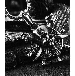 Gothic Titanium Steel Gothic Punk Pirate Pendent Necklace Xpn40481