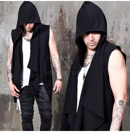 Black Shawl Hood Vest 77