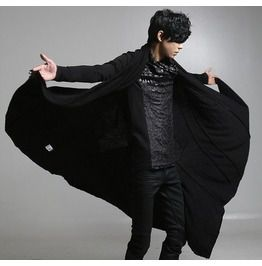 629e278f4a4 Stylish Men s Punk Gothic Cardigan Fashion Black Causal Coats