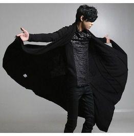 Stylish mens punk gothic cardigan fashion black causal coats coats