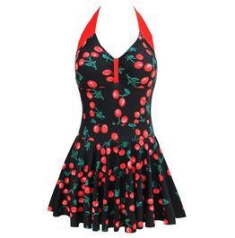 30408e7b665 Summer Women s Sexy Cherry Print Black Halter Swimwear Dress