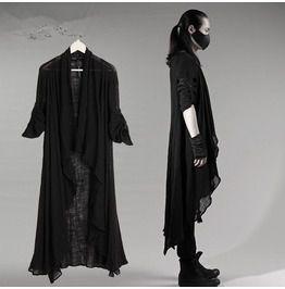 Black grey mens punk rock linen long sleeves cape shirt avant garde coat coats