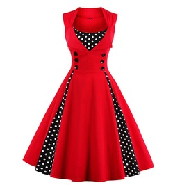 Vintage Dress Polka Dots Patchwork Plus Size