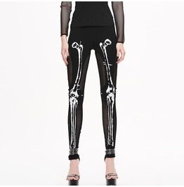 Women's Punk Gothic Skeleton Printed Mesh Paneled Leggings Pt036