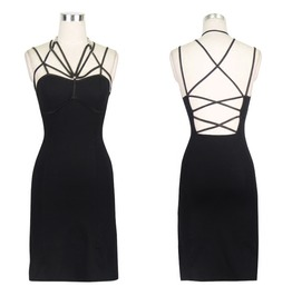 Women's Punk Gothic Backless Strappy Slip Bodycon Dresses Skt027
