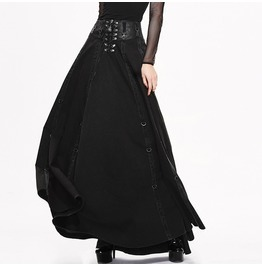 Women's Punk Gothic High/Low Layered Lace Up Rockabilly Swing Skirt Skt017