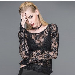 Women's Punk Gothic Sexy Foral Lace Long Sleeve Stand Tops Tt045