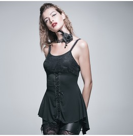 Women's Punk Gothic Lace Up Sexy Lace Backless Camisole Tanks Top Tt030