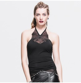Devil Fashio Women's Punk Gothic Spider Web Backless Halter Tank Top S Tt020
