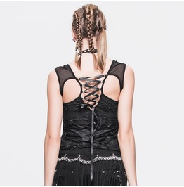 Women's Punk Gothic Distressed Cutout Lace Up Skeleton Tank Tops Tt010
