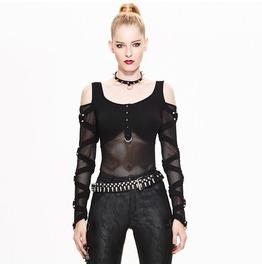 Women's Gothic Off Shoulder Net Paneled Rivet Long Sleeve Stand Tops Tt048