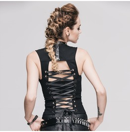 Women's Punk Gothic Lace Up Backless Tanks Top Ttp222