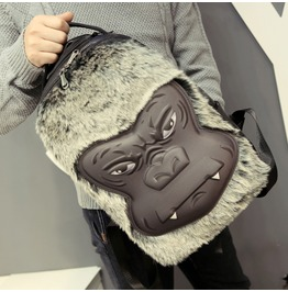 New 3 D Orangutan Pu Leather Backpack Faux Fur Casual Back To School Bags