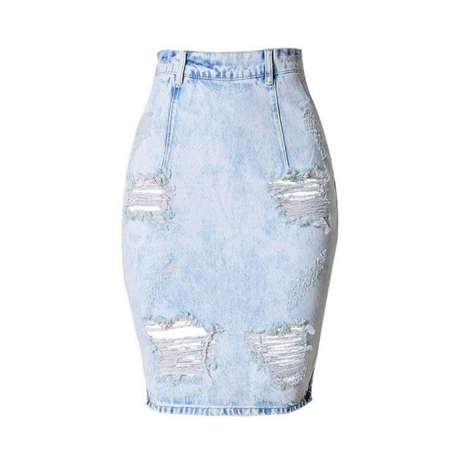 wholesale online super cute pretty cool Women's Distressed Back V Cut Denim Skirt