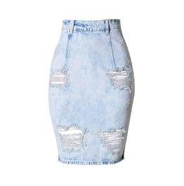 Women's Distressed Back V Cut Denim Skirt